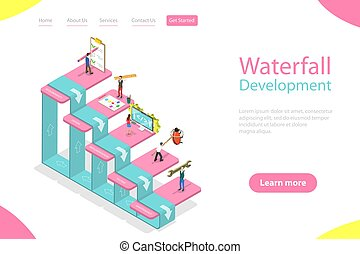 Flat isometric vector landing page template of waterfall methodology.