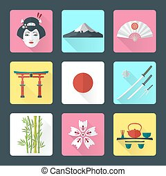 flat japan icons set - vector color flat style japanese...
