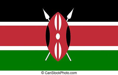flat kenyan flag in wind