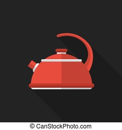 Flat kettle with long shadow. Vector icon