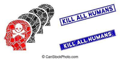 Flat vector kill all humans pictogram and rectangle Kill All Humans rubber prints. A simple illustration iconic design of Kill All Humans on a white background.