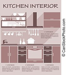 Flat kitchen interior design template for an infographic...