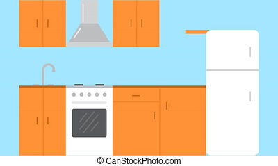 Flat Kitchen Room. Interior with furniture stove, cupboard...