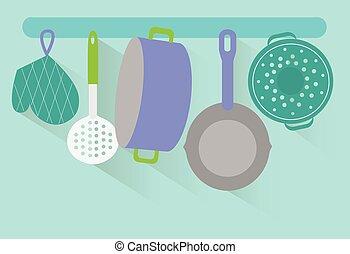 Flat kitchen utensils vector. Long