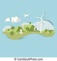 Flat landscape design with windmill and sporting people, vector