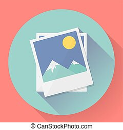 Flat Landscape photo icon. Vector illustration.