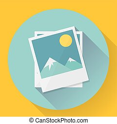 Flat Landscape photo icon. Vector illustration.