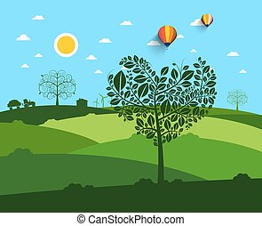 Flat Landscape with Heart Shaped Tree on Foreground and Field on Background.