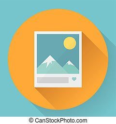 Flat Landscape with like photo icon. Vector illustration.