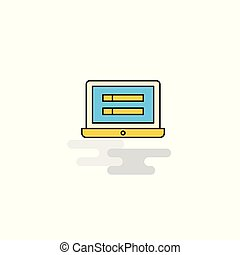 Flat Laptop Icon. Vector