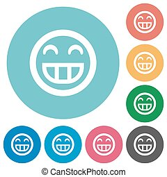 Flat laughing emoticon icons