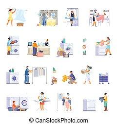 Flat Laundry Icon Set