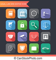 Flat Law Legal Justice Icons and Symbols Vector Illustration