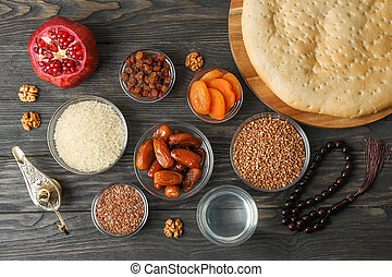Flat lay composition with decoration and food of Ramadan...