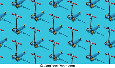 Animated background from large group of kick scooter on blue background.  Scooters ride diagonally from top to bottom. Flat lay, top view. Isometric view. Seamless loop video.