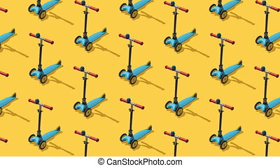 Animated background from large group of kick scooter on yellow background.  Scooters ride diagonally from top to bottom. Flat lay, top view. Isometric view. Seamless loop video.