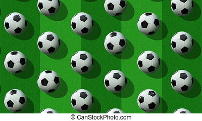 Animated background from large group of soccer balls.  Balls roll diagonally from top to bottom on football field background. Flat lay, top view. Isometric view. Seamless loop video.