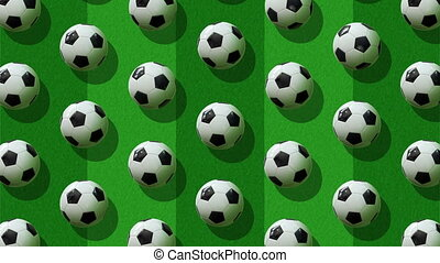Background from large group of soccer balls.  Balls rotate around their axes on background of a soccer field. Flat lay, top view. Isometric view. Seamless loop video.