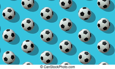 Animated background from large group of soccer balls.  Balls roll diagonally from top to bottom on light blue background. Flat lay, top view. Isometric view. Seamless loop video.