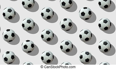 Animated background from large group of soccer balls.  Balls roll diagonally from top to bottom on white background. Flat lay, top view. Isometric view. Seamless loop video.