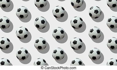 Background from large group of soccer balls.  Balls rotate around their axes on white background. Flat lay, top view. Isometric view. Seamless loop video.