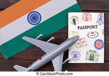 Flat lay concept of flight to India.