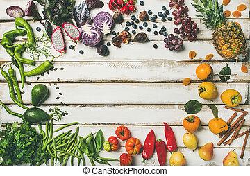flat-lay, de, fruta fresca, vegetales, verde, y, superfoods