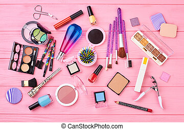 Flat lay decorative cosmetics, top view.