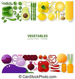 Flat lay Fresh vegetables isolated on white background , healthy food concept 1