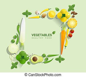 Flat lay Fresh vegetables on green background, healthy food concept 1