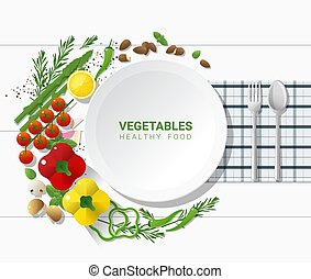 Flat lay Fresh vegetables on white table background, healthy food concept 1