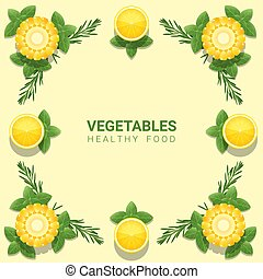 Flat lay Fresh vegetables on yellow background , healthy food concept 1