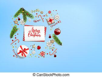 Flat lay holiday Christmas - Blue flat lay Christmas...