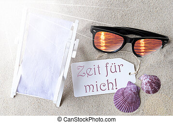 Flat Lay Label Zeit Fuer Mich Means Time For Me - Sunny...