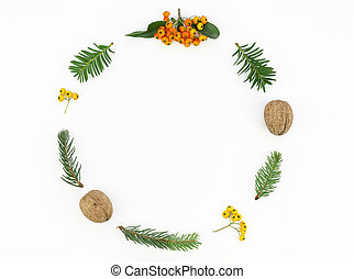 Flat lay mockup Round frame of Christmas tree branches and decorations with blank space for text. Xmas and 2020 New year concept