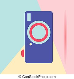 flat lay modern phone digital camera icon with shadow on pastel colored blue and pink background