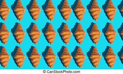 flat lay of croissants motion pattern