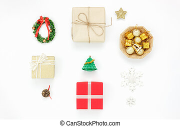 Flat lay of decoration & ornaments merry Christmas and happy new year concept.Variety objects prepare for the season.Essential accessories on the modern white background at home office studio.