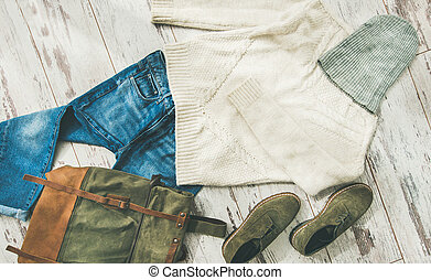 Flat-lay of Fall lady' s clothes outfit, horizontal composition