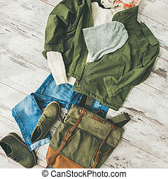 Flat-lay of Fall lady' s clothes outfit, square crop