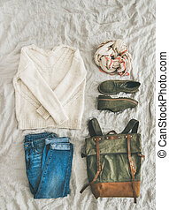 Flat-lay of Fall lady' s clothes outfit, top view