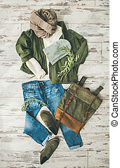 Flat-lay of Fall lady' s clothes outfit, trendy autumn look