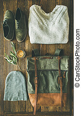 Flat-lay of Fall lady' s clothes trendy outfit and coffee