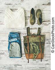 Flat-lay of Fall lady' s clothes trendy outfit