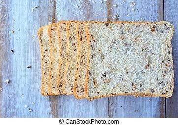 Flat lay of fresh sliced bread