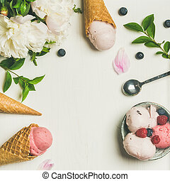 Flat-lay of ice cream scoops and peonies, square crop