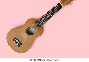 Flat lay of ukulele on a pastel pink background.