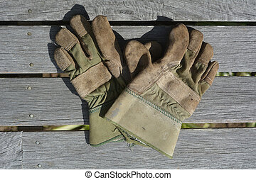 Flat lay of working garden gloves