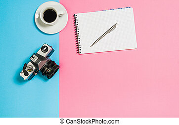 Flat lay photo of a creative freelancer woman workspace desk with copy space background.