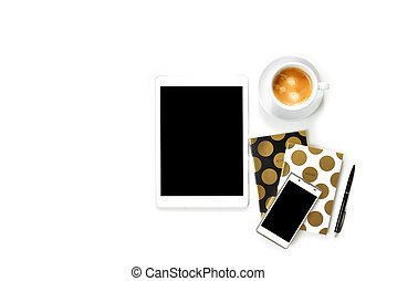 Flat lay photo of office white desk with tablet, cup of coffee and gold notebook copy space background